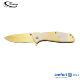 Gold Titanium Coated Handle Folding Hunting Survival Pocket Army Knife