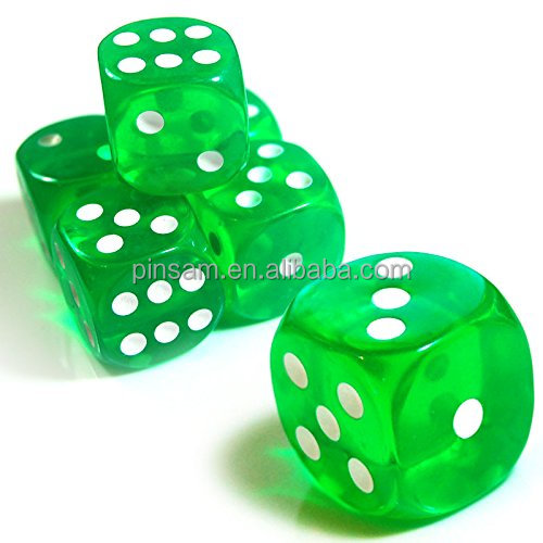 Dice 6 Sides green round corner Transparent dice Polyhedral Custom dice