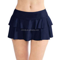 Padded Swimwear Bottoms Navy Double-Ruffle Skirted Bikini Bottoms Wholesale Bikinis Woman Swimwear 2017 Custom Swimwear