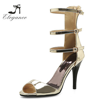 f982a4837041a1 2018 Fancy Ladies Shiny Gold Patent Leather Party Wear Shoes Peep Toe Three  Buckle High Heel