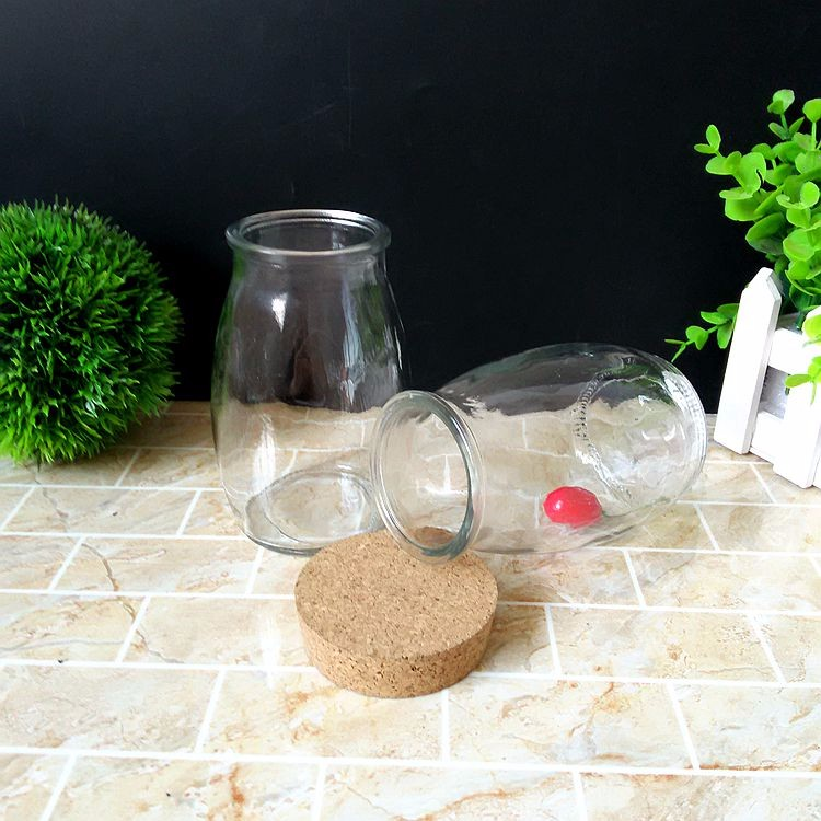 Large 14oz Glass Jar With Cork Lid,Unique Glass Storage Jar