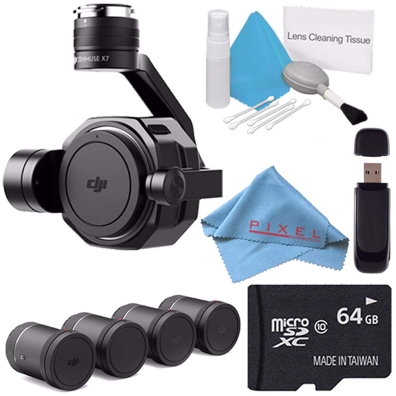 DJI Zenmuse X7 Camera and 3-Axis Gimbal CP.BX.00000028.01 + DL & DL-S Lens Set for Zenmuse X7 Camera (4 Pieces) CP.BX.00000039.01 + 64GB microSDXC + Card Reader + Fibercloth Bundle