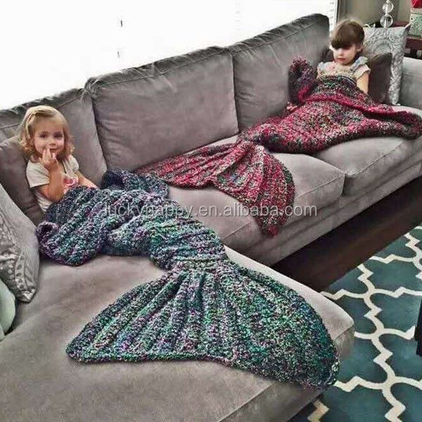 Knitting Pattern For Baby Mermaid Blanket : Handmade Knitted Mermaid Tail Blanket Crochet Wrap Mermaid Blanket Crochet Pa...