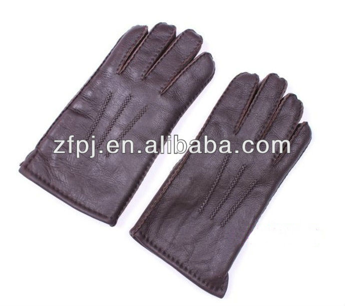 men fashion patent big hand Leather Gloves in brown