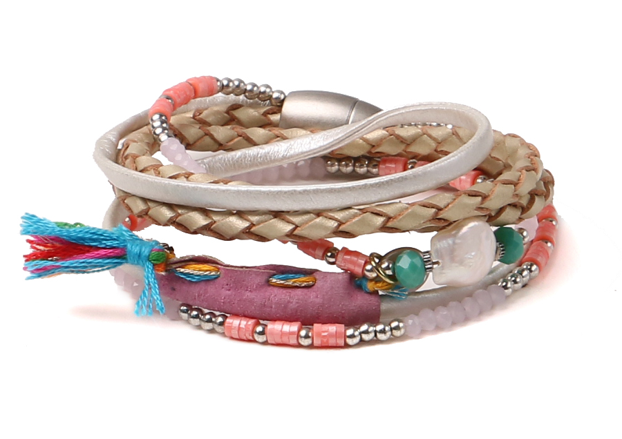 wholesale two layer leather with pearl stainless steel bracelets