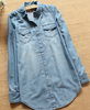 2015 denim shirt women long sleeve ladies summer denim shirt blouse tops