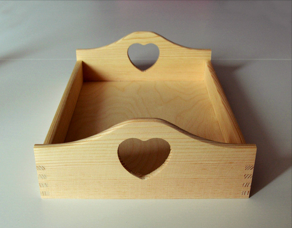 Small Breakfast Tray Wooden Serving Tray With Heart Handles