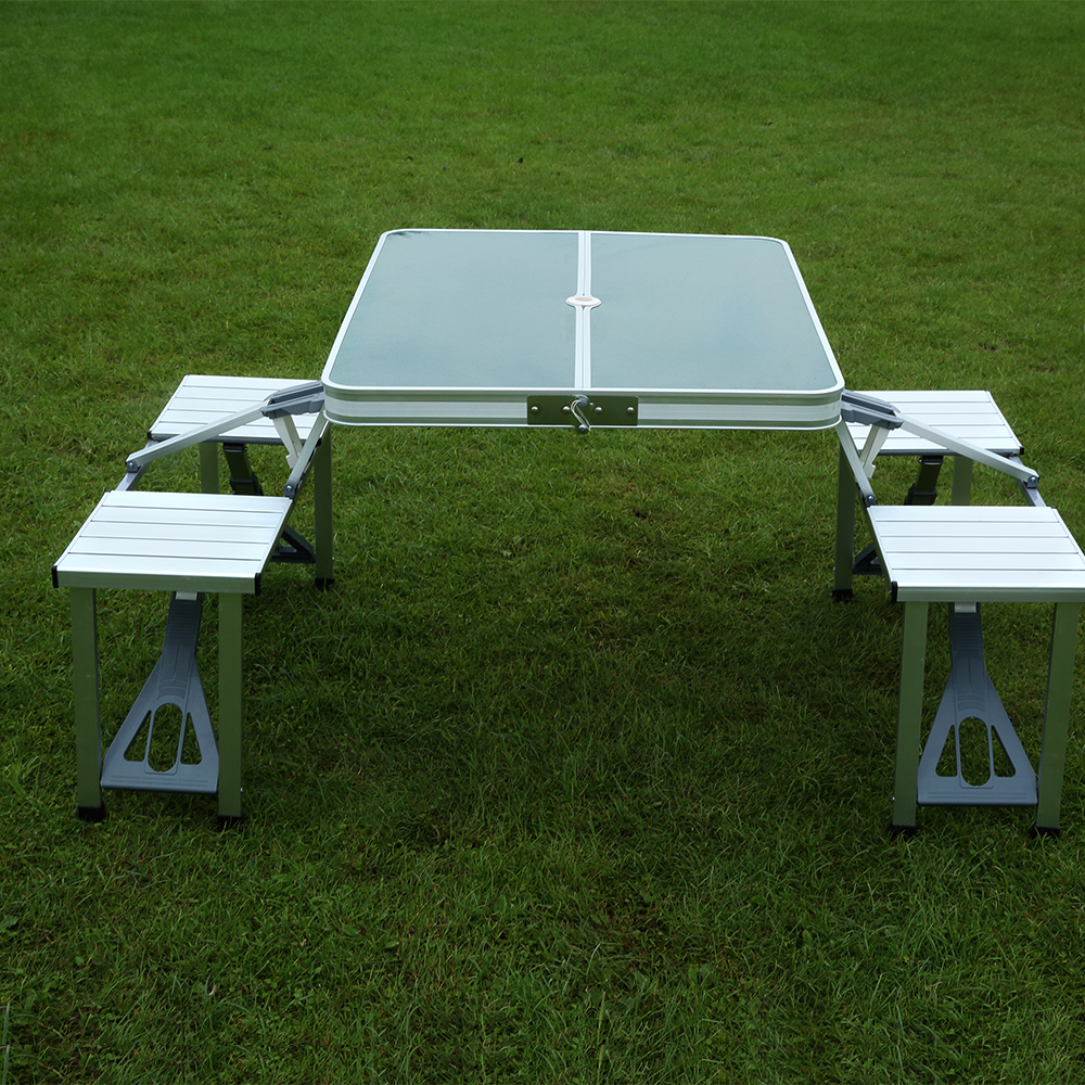 Large Aluminum Foldable Picnic <strong>Table</strong> And Chairs Sets