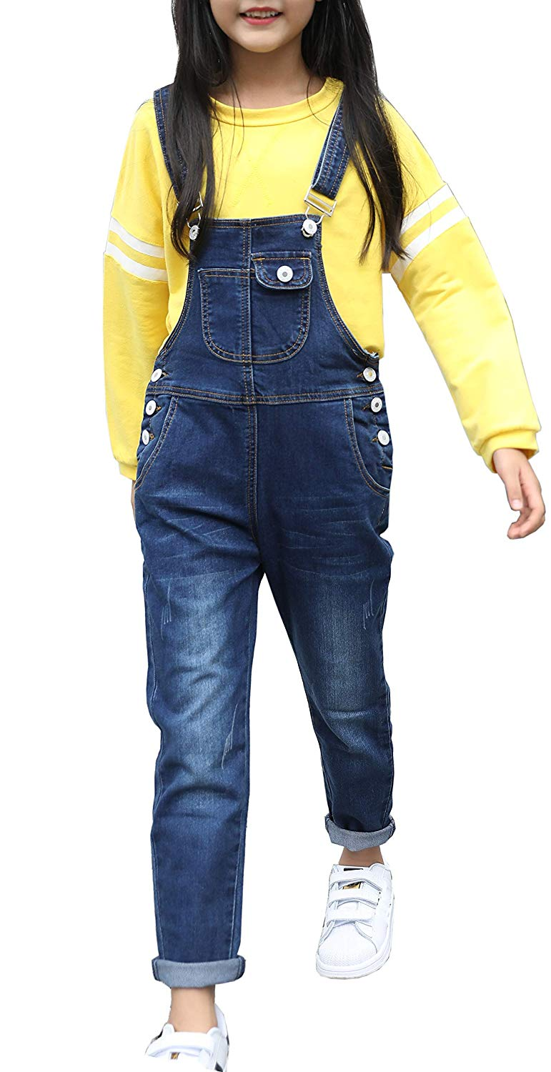 FLCH+YIGE Womens Ripped Hole Bib Overall Jumpsuit Casual Jeans Pants