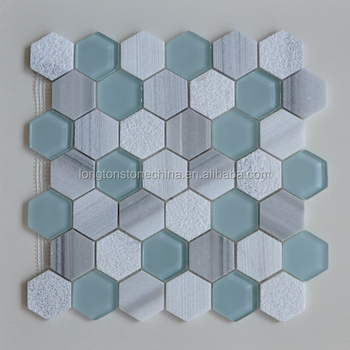 2 Hexagon Equator Marble And Glass Mosaic Tile For Home Decoration