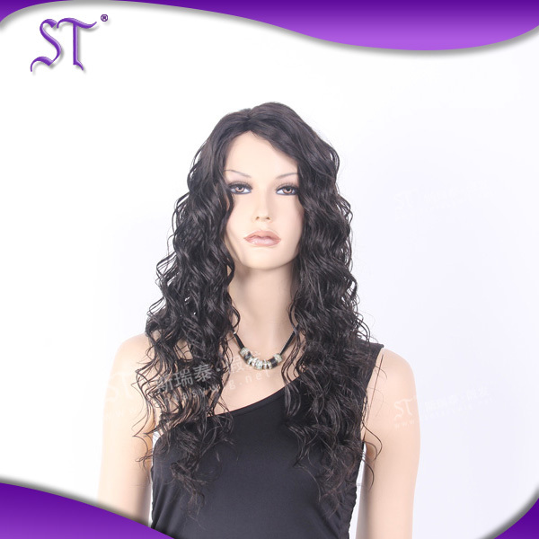 guangzhou latest style elegant design OEM long curly wig for black women