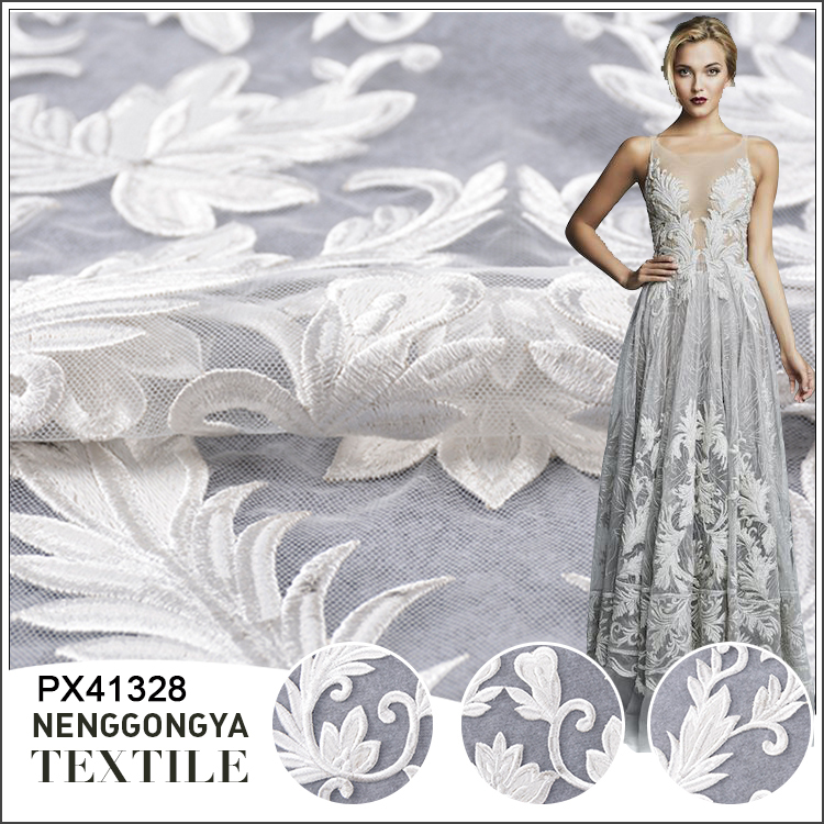 Hot sale cheap knitted embroidered tulle flower white bridal lace fabric