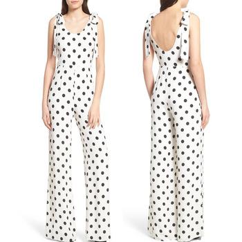 79d04d01f61 Romper Women Apparel Fashion Black Dot Printed Linen Jumpsuit - Buy ...