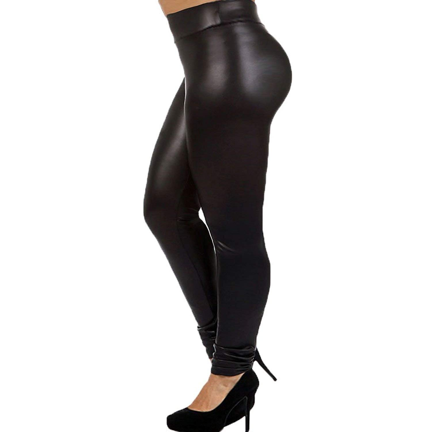 ffd7b3f5927 Get Quotations · 7th Element Plus Size Faux Leather Leggings Lightweight High  Waisted for Womens Girls