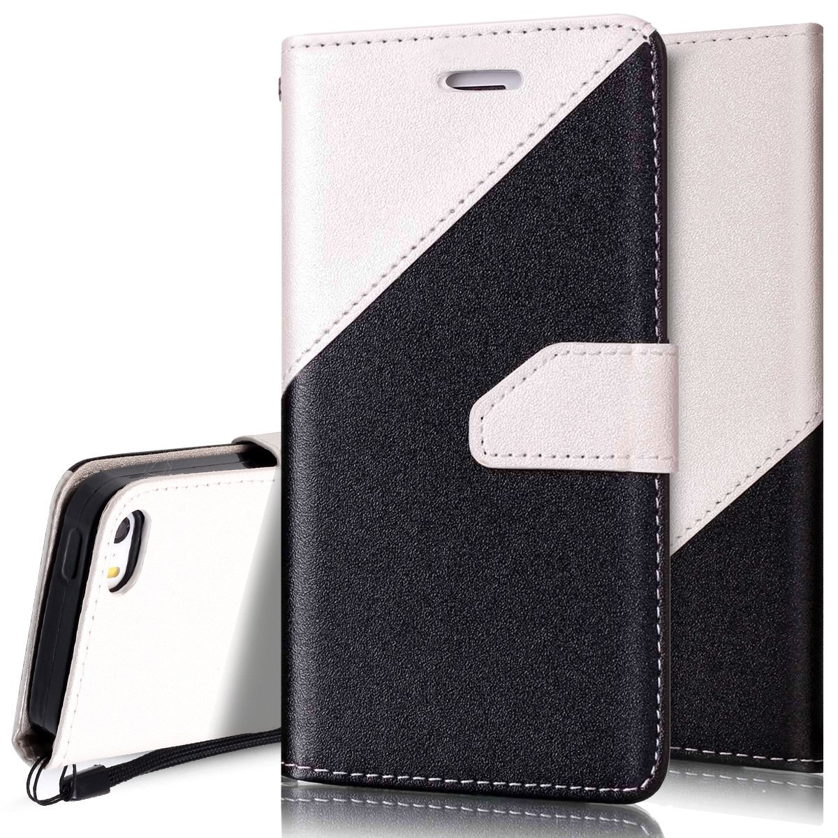 iPhone SE Case,iPhone 5S Case,PHEZEN iPhone 5s/5/SE Wallet Case, Elegant Two-Color Design PU Leather Magnetic Wallet Flip Case Cover with Stand & Credit Card Slots for iPhone 5 5S SE, Black + White