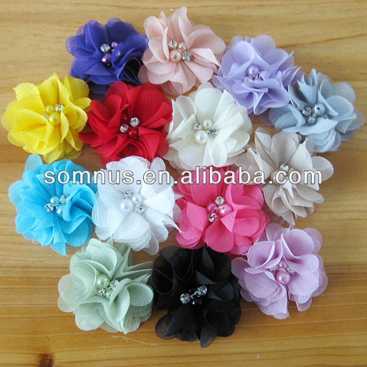 6cm Fashion Handmade Chiffon Fabric Flowers with plastic beads