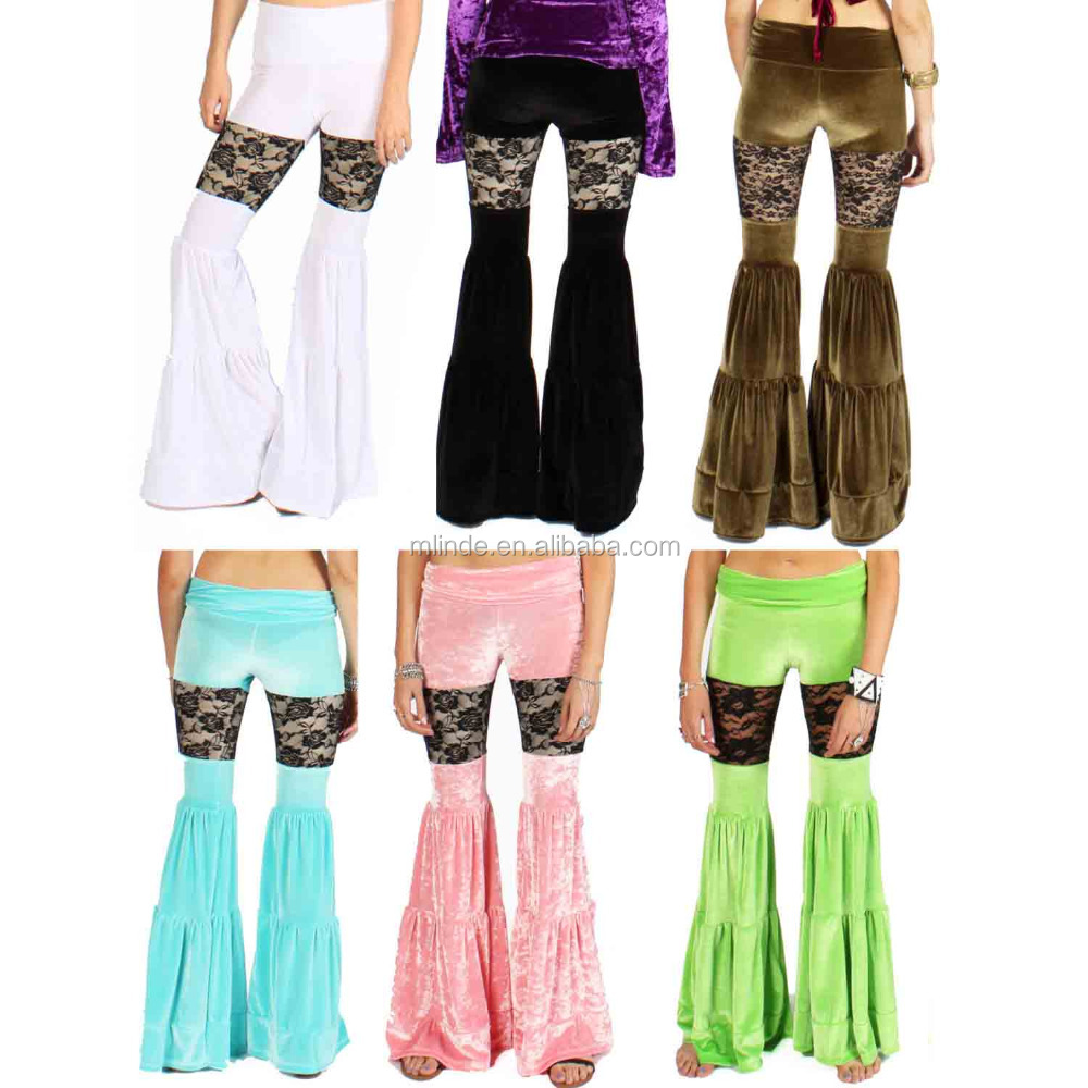 Stretch Velvet Flow Yoga Pants Black Lace Insert Sexy Flares Velvet Bell Bottoms Hippy Gypsy Capris Belly Dance Pants