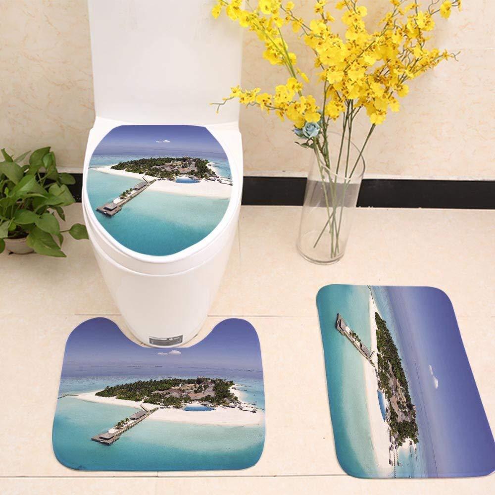YGUII 3 Piece Bathroom Mat Set,Scenery Decor,Snowy Mountain Tops from Old Wood Deck Pier by Sea Idyllic Calm Coastal Charm,Blue Brown,Bath Mat,Bathroom Carpet Rug,Non-Slip