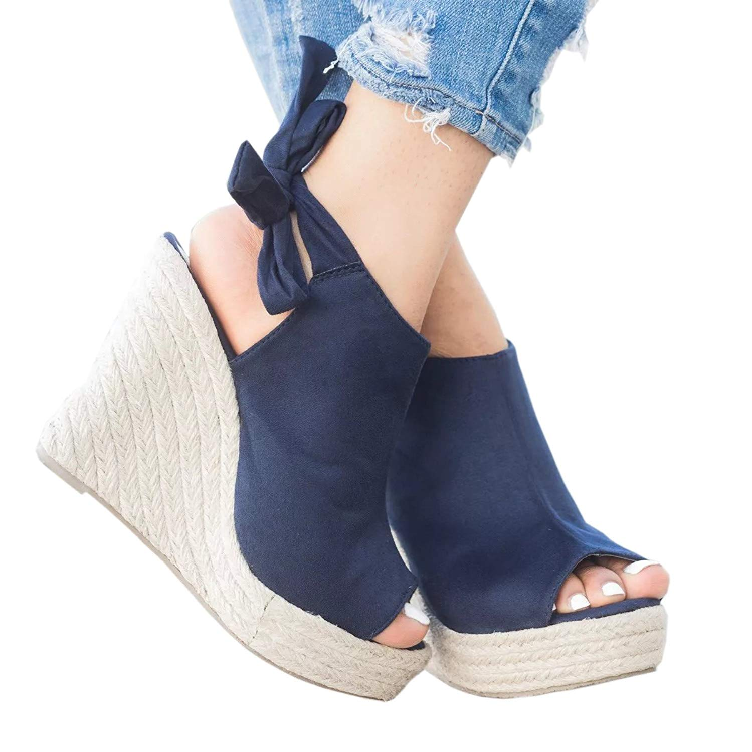 b181fae2e Get Quotations · Wedges Sandals For Womens Espadrille Platform Peep Toe  Ankle Strap Mid Heel Suede Back Lace Up