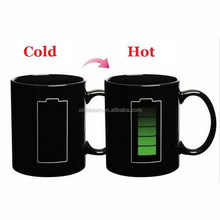 TCM-031 ZheJiang 350 ml black battery hot sensitive color-changing promotional ad magic ceramic cup