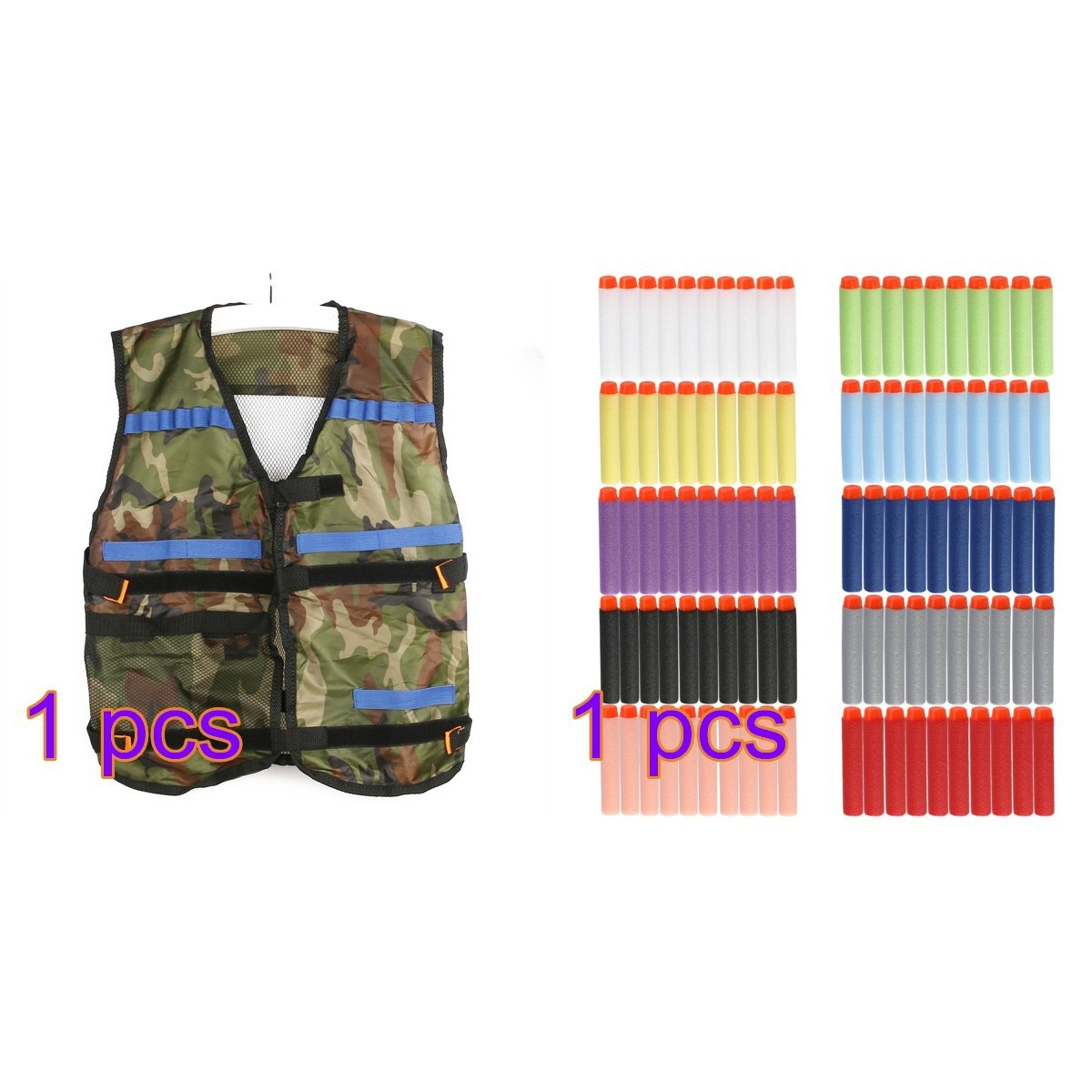 Tinksky 1pcs Tactical Vest Adjustable for Nerf N-Strike Elite Battle Game gifts for men (Camouflage) + 100pcs N-Strike Elite Dart Refill Pack, 7.3cm/150g Blasters Kid Toy Gun Play Game (10 color)