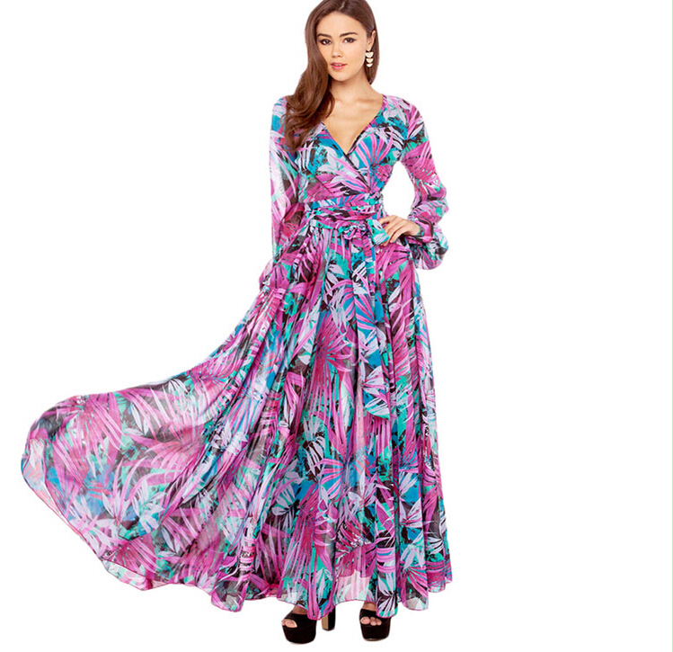 188c6a73e7 Get Quotations · Women Beach Dress Maxi Dresses Long Casual Boho Print  Chiffon Sleeveless V-Neck Ladies Summer