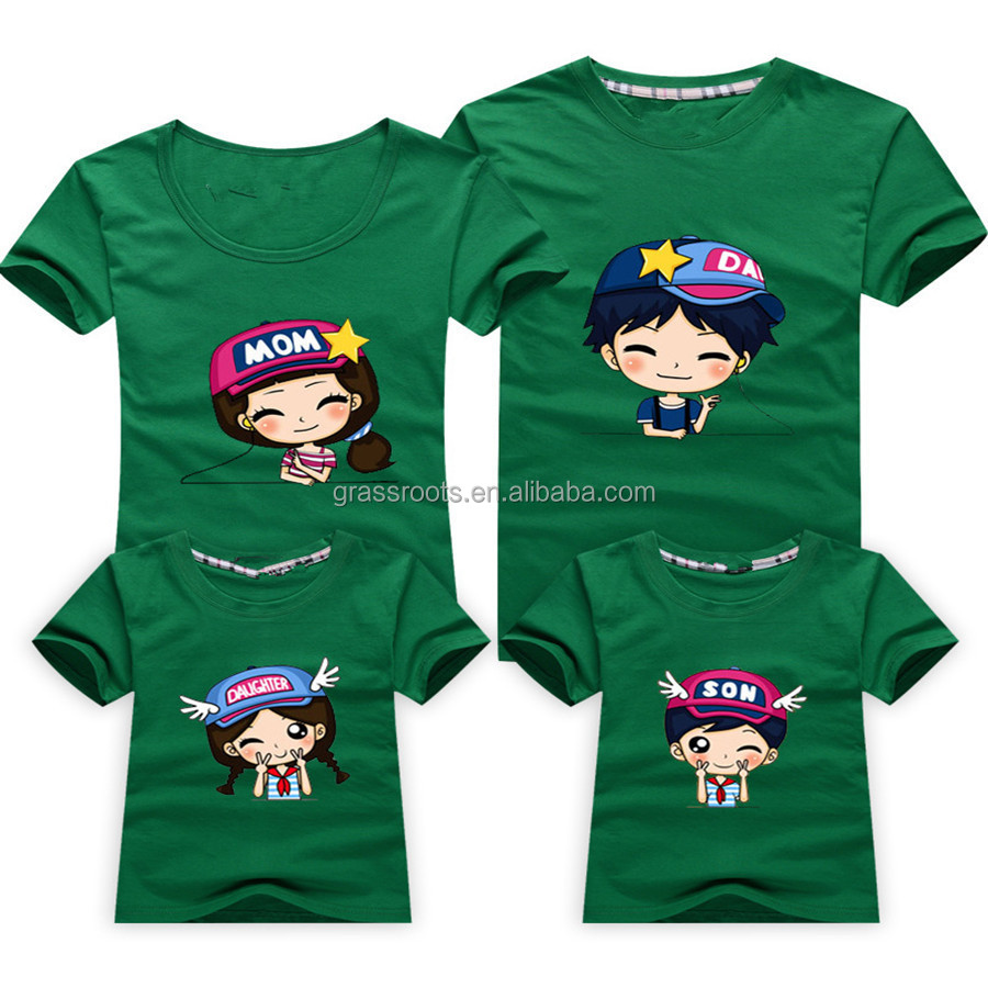 2015 wholesale family round collar printed t shirt designs for Promotional t shirt design