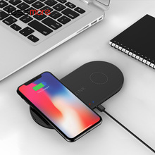 <span class=keywords><strong>ใหม่เทคโนโลยี</strong></span> 2019 Qi Fast Charge Dual Coils 2 in 1 Wireless Charger สำหรับ iphone X