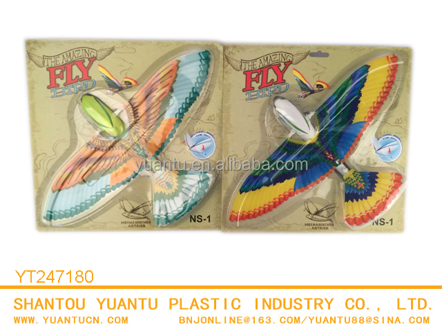 Newest design colorful wind up flying bird toy