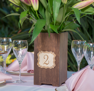 Rustic Wood Box Table Number Plaque with Classic Border Wedding Centerpiece Vase Planter