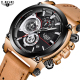 LIGE Top Brand Casual Quartz Watch Busines Men's Gender Leather Material Wrist Watches