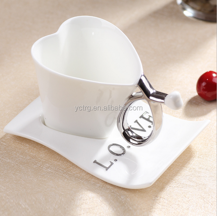 Nice Heart Shape Porcelain coffee cup/saucer set