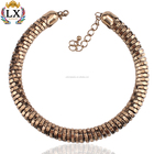 NLX-00310 Vintage Punk Choker Necklace Kundan Gold Plated Choker Collar Necklace
