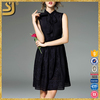 ShangYi fashion embroidery design the waist black casual summer dress