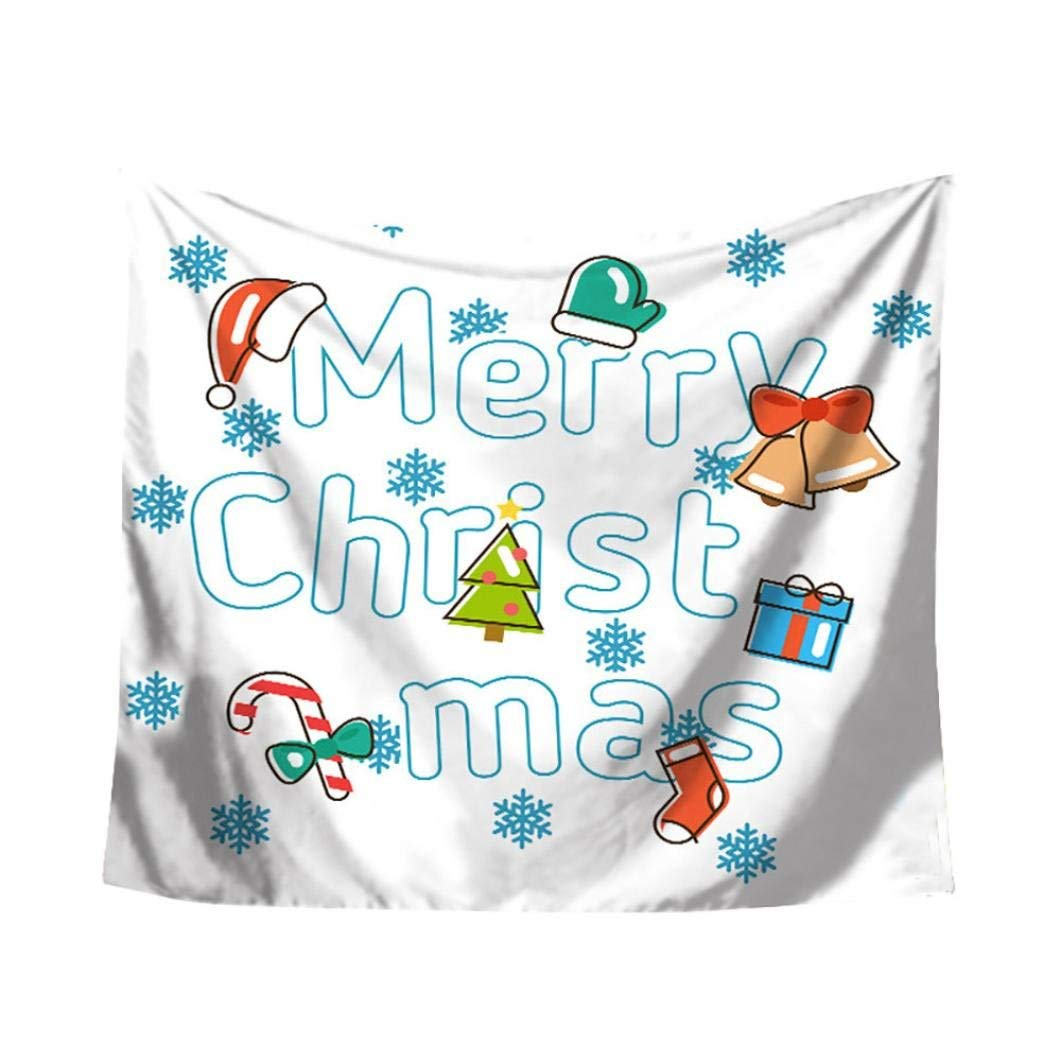 Christmas Xams Tapestry Throw Wall Hanging Santa Claus Snow Man Party Deco Blanket Rectangle