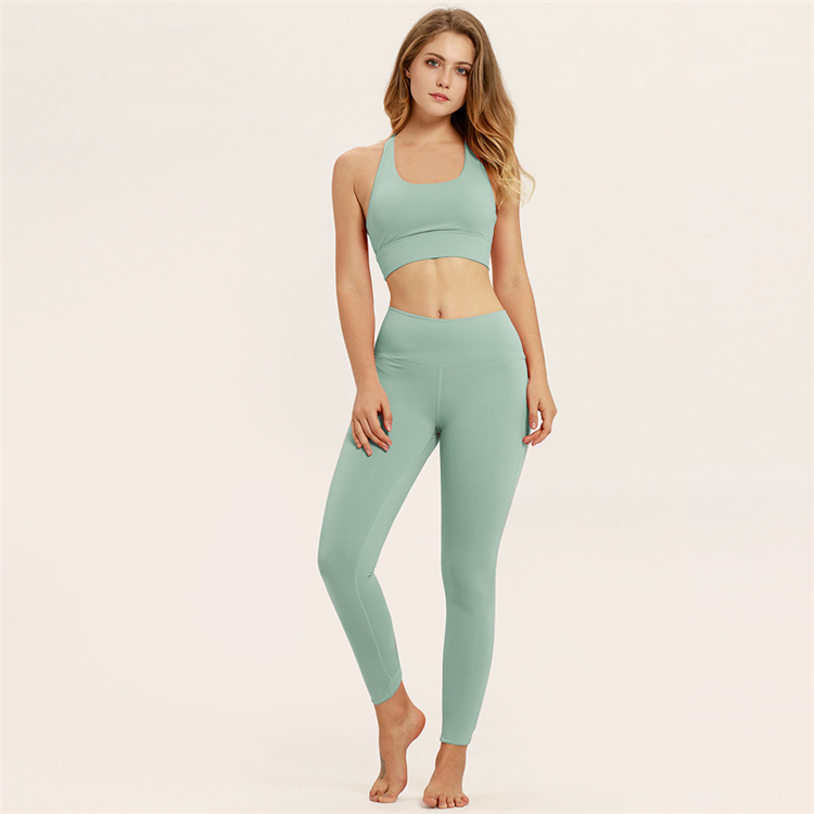 Pure color cotton sports trend tight height stretch fitness body breathable yoga clothes