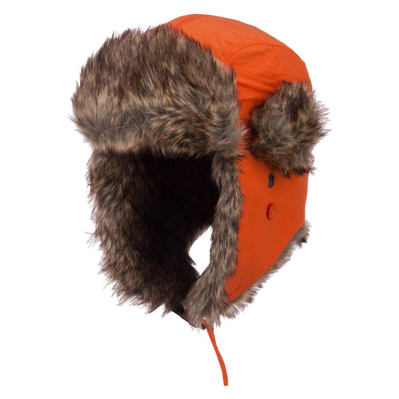 71fc1a9ed6c Get Quotations · Faux Fur Aviator Trooper Hat - Orange