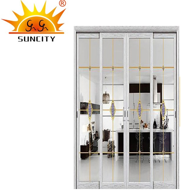 SC AAD041 High Quality Transparent Full Glass Aluminum Window Pocket Door  Design For Entry Back