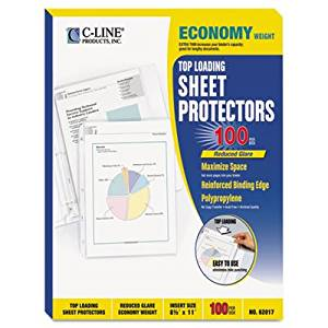 C-Line Products, Inc. Products - Top-Load Sheet Protct, Economy Weight, Ltr, 100/BX, CL - Sold as 1 BX - Sheet protectors offer a top-loading design, being sealed on three sides. No punching of sheets is necessary. Load the sheet while the protector remains in the binder. Sheet protectors fit