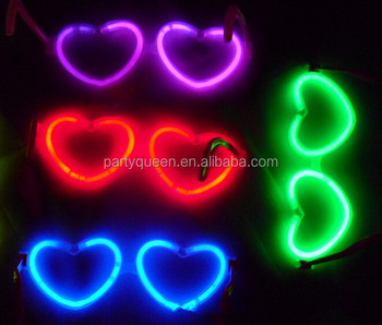 glow in the dark heart shape glasses G-P0096