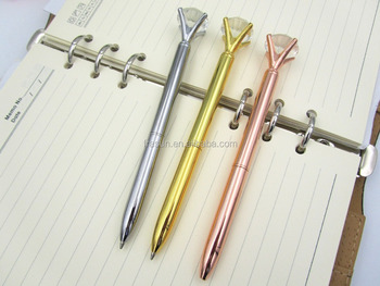 a6351fde6b Metal ball pen, rose gold pen, diamond top pen