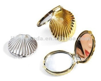 Stylish! Metal Plated Shell Shaped Make-up Mirror Fashionable ...