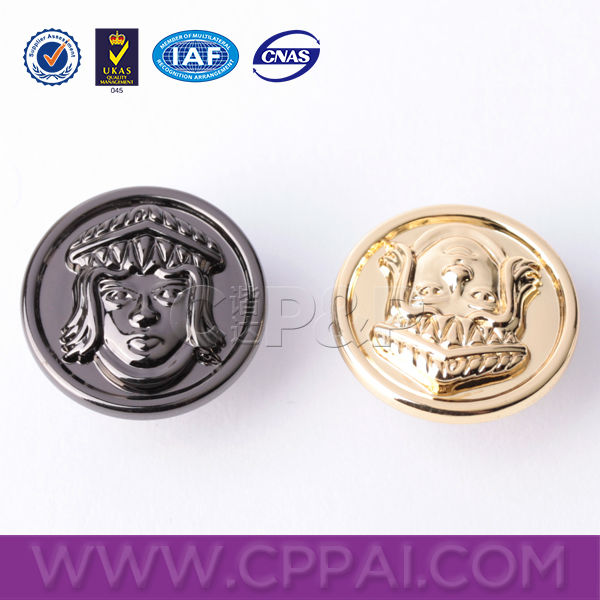 Custom embossed logo head shape jacket snap buttons