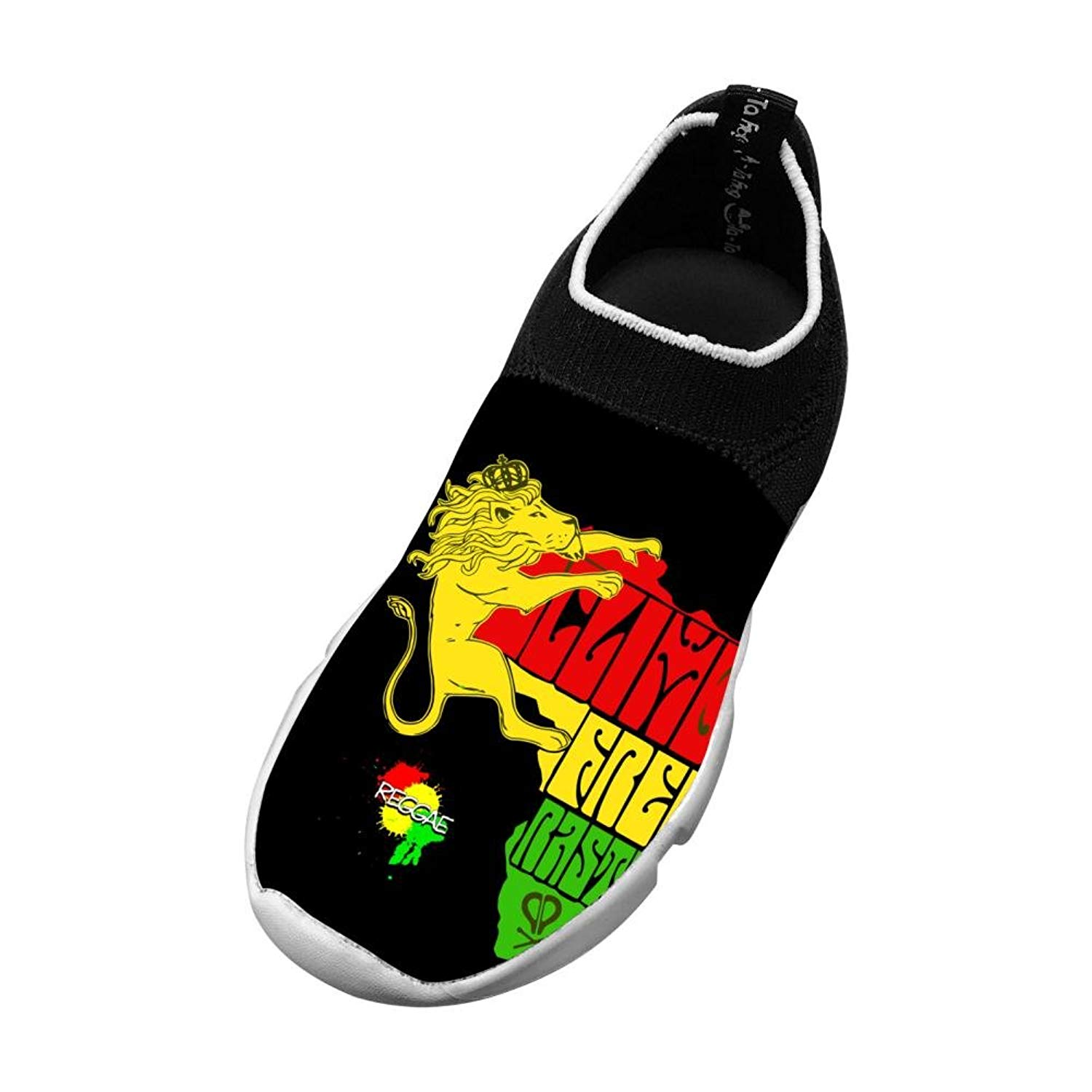 d2d615ff3d666 Get Quotations · MREIO Jamaica Rasta Lion Children's Breathable Fly Knit  Shoes Casual Sport Loafers Sneakers Gym Shoes For