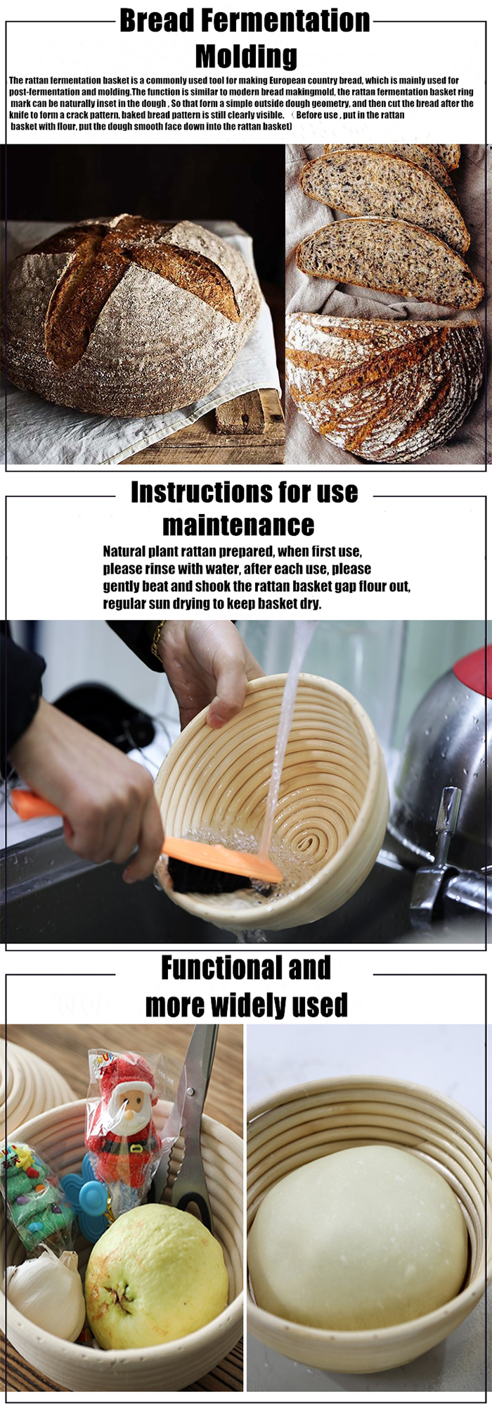 Top quality Indoesina cane bread proofing basket with stainless steel nails bread banneton manufacture dough rising basket