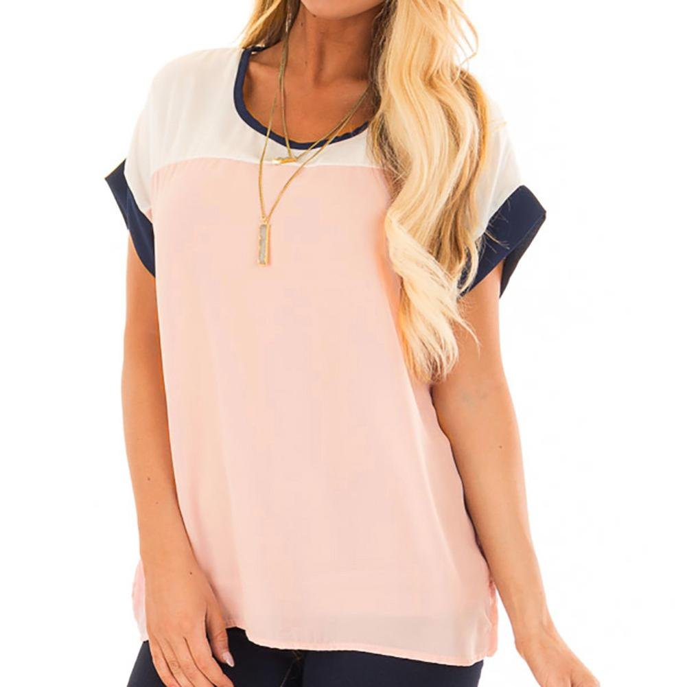 Paymenow Chiffon Blouse For Women, Clearance Women Color Block Short Sleeve T Shirts Loose Summer Tops Shirts Pullover