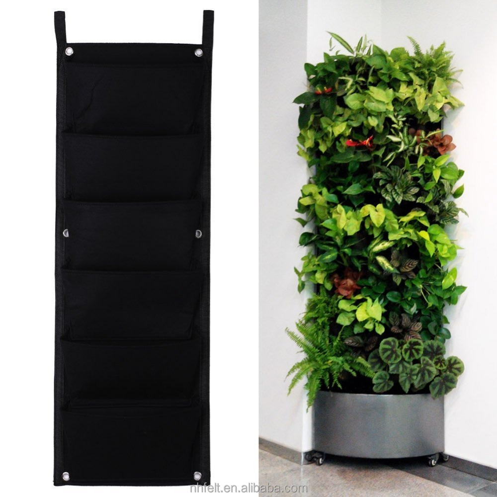 Multi Pocket Planting Bag Hanging Wall Vertical Planter Hanging Flower Herb New