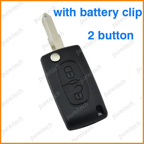 10pieces lot car flip remote key case 2 buttons for peugeot 206 with battery clamp in tire. Black Bedroom Furniture Sets. Home Design Ideas