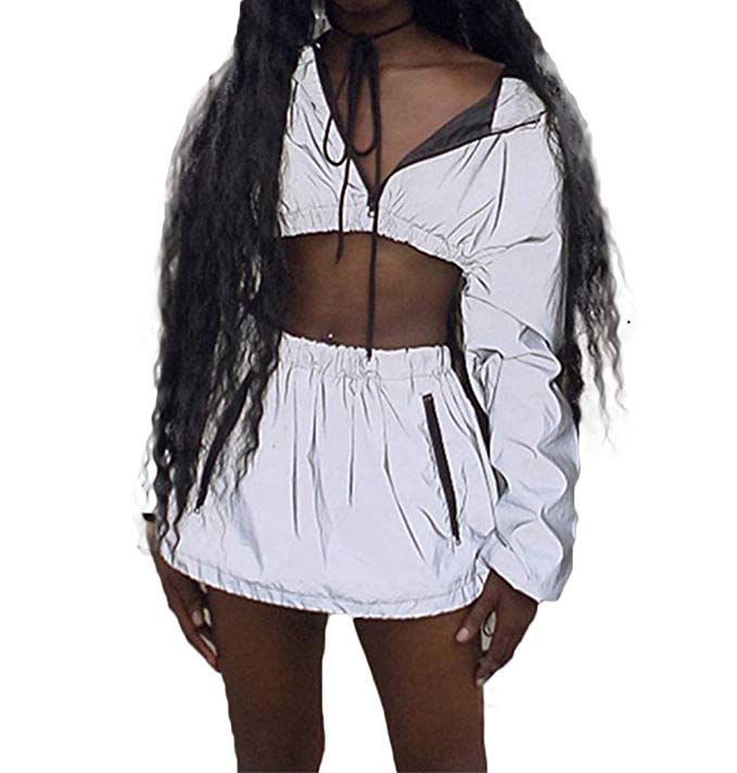 Women 2 Pieces Full Reflective Tracksuit Night Club Wear Long Sleeve Crop Top and Pant Set Ladies