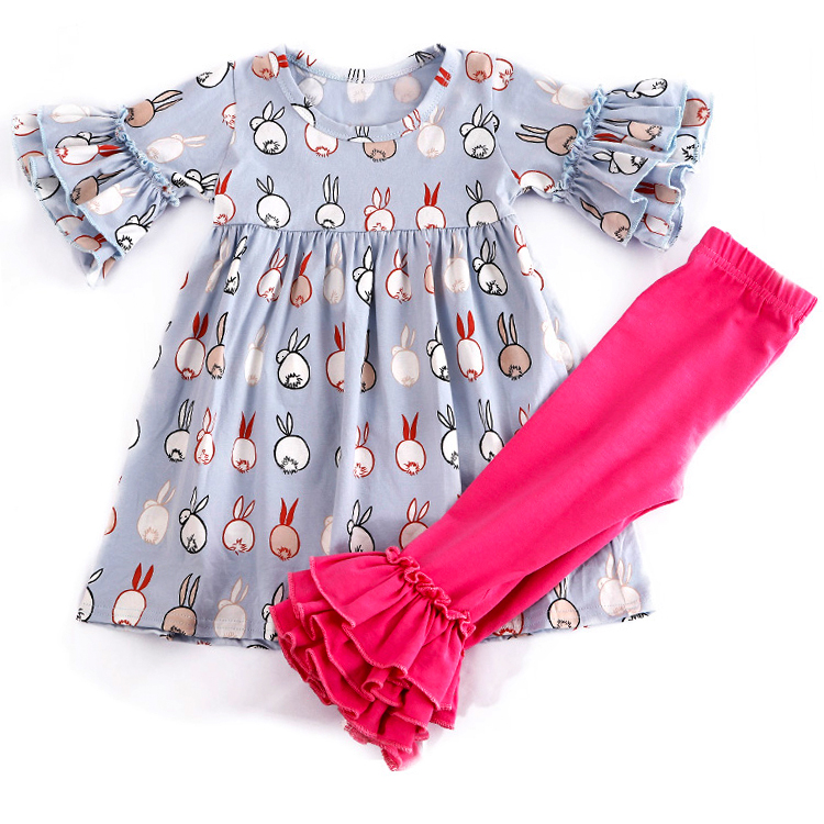 Children Clothes Bunny Set Baby Girls Easter Outfits kids sweat suit clothing set girl